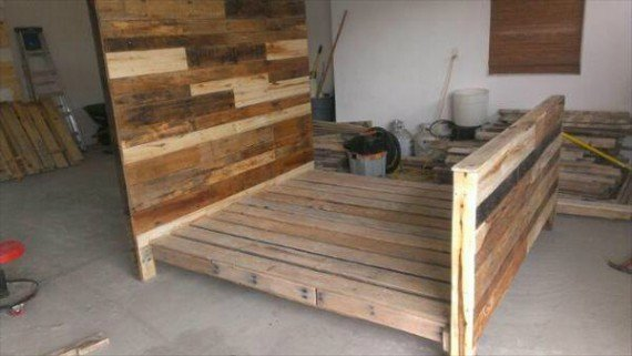 Pallet bed with side drawers 2 for Pallet bed frame with side tables