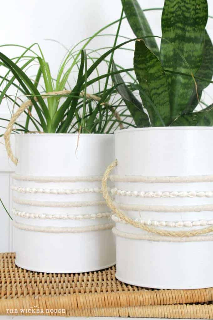 Two white plant pots