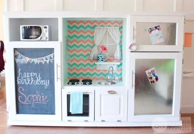 Wooden play kitchen for kids