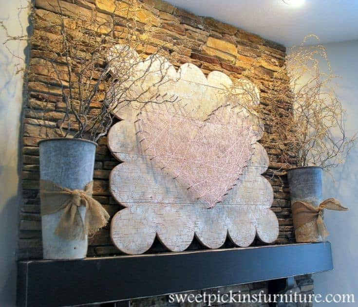 heart string decoration placed above a fire place