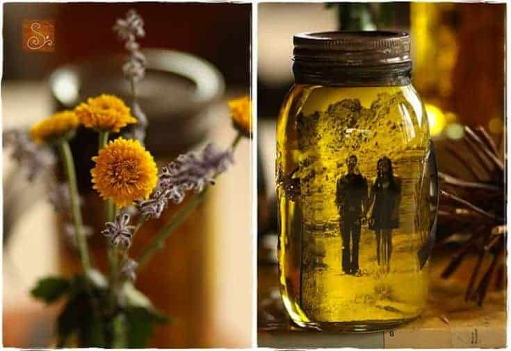 image in a jar with oil and yellow flowers