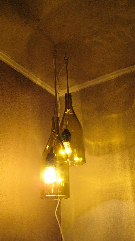A light pendant made out of wine bottles