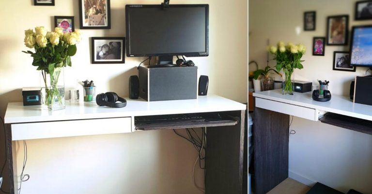 standing desk and a computer