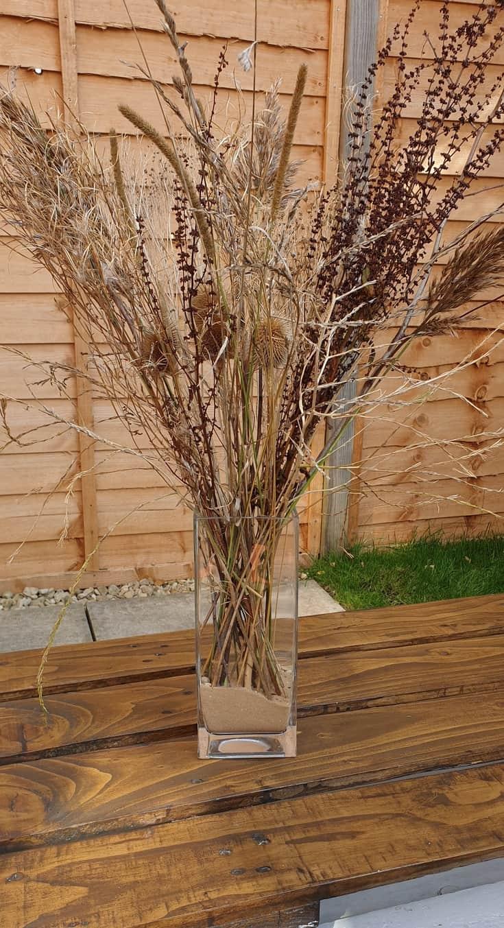diy fall decor vase on a table
